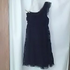Black sequin tool off shoulder dress